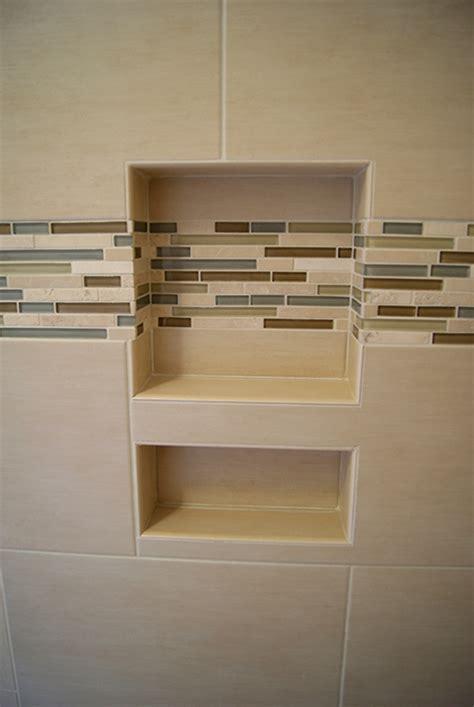 Bathtub Shower Tile by Horizontal Glass Amp Stone Niche Band Wolf Custom Tile And