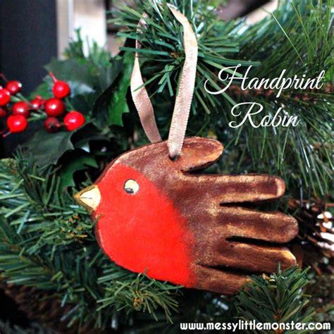 handprint robin ornament messy little monster