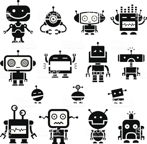 Robot Symbols 2 Stock Vector Art & More Images Of Anger