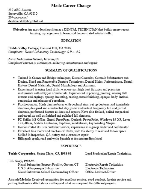 dental technician resume exle