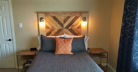 plank wood  pallet wood headboard  accent lights