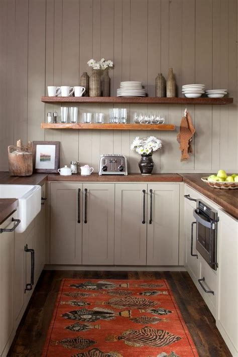cozy  shaped kitchen  open shelving  altlanta based