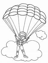 Parachute Coloring Parachuting Pages Paratrooper Colouring Template Drawings Sketch Picolour Popular 03kb 792px sketch template