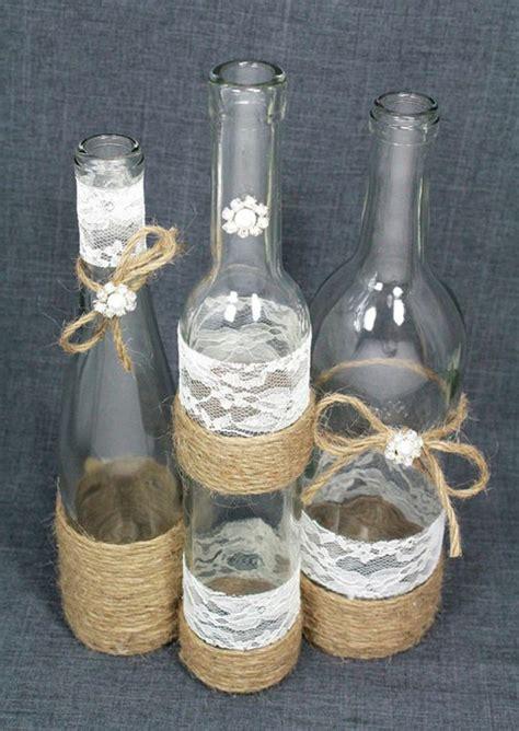 1001 tutoriels et id 233 es diy de d 233 co avec dentelle bouteille verre deco mariage et bouteille