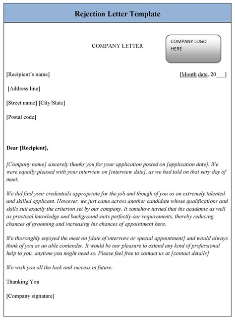 rejection letter template sample templates