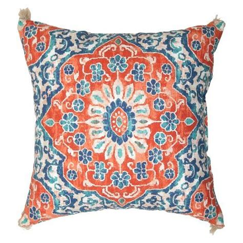 blue outdoor pillows coral and blue batik outdoor pillow blue coral fabric