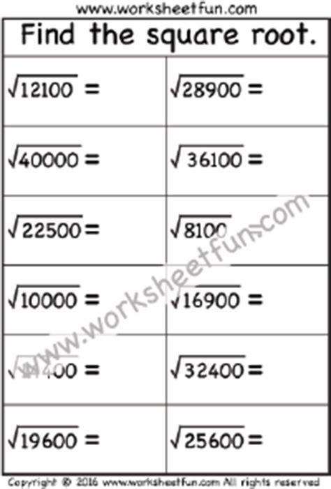 Square Roots Of Perfect Squares  Free Printable Worksheets Worksheetfun