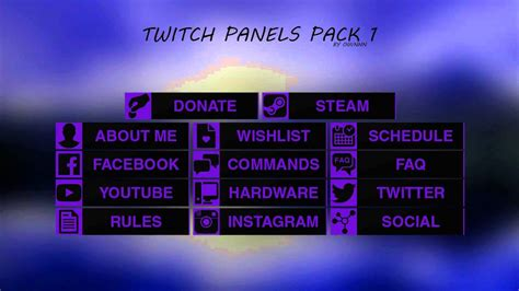 Twitch Panel Template Free Twitch Panels Buttons Pack Template 1 Any Colour