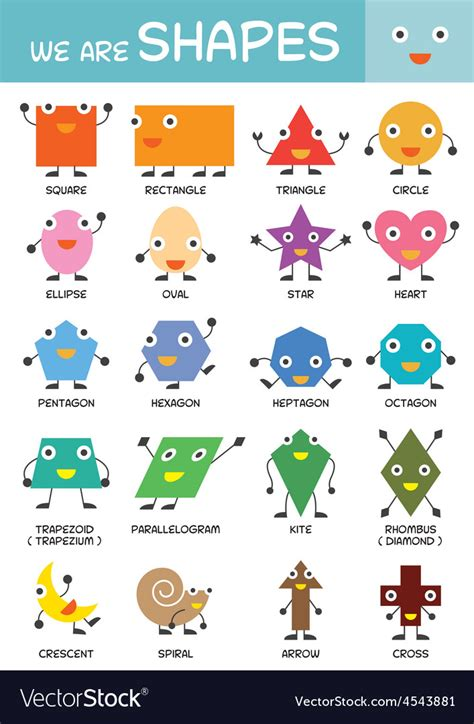 kids basic shapes chart royalty  vector image