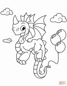 Cute Dragon With Balloons Coloring Page