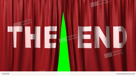 "Closing Red Curtain With Title ""the End"" Stock Animation"