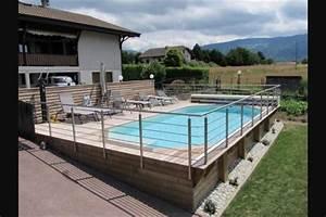 terrasse et piscine terrain en pente exterieur With terrasse en bois pour piscine hors sol 5 piscine 100 bois decouvrez cette nouvelle piscine bois