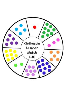 color wheel numbers numbers math center printable for motor w clothespin