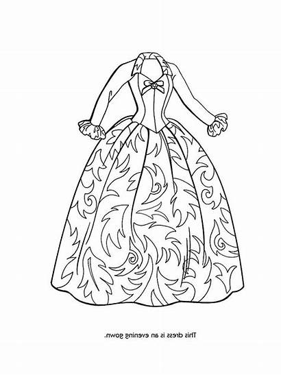 Coloring Pages Fancy Dresses Barbie Party Dressed