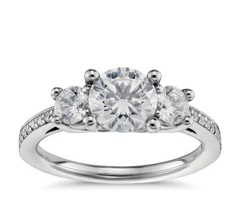 Three Stone Pavé Diamond Engagement Ring In Platinum (23