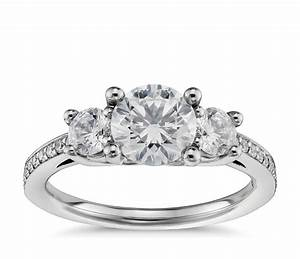 three stone pave diamond engagement ring in platinum 2 3 With 3 stone wedding ring