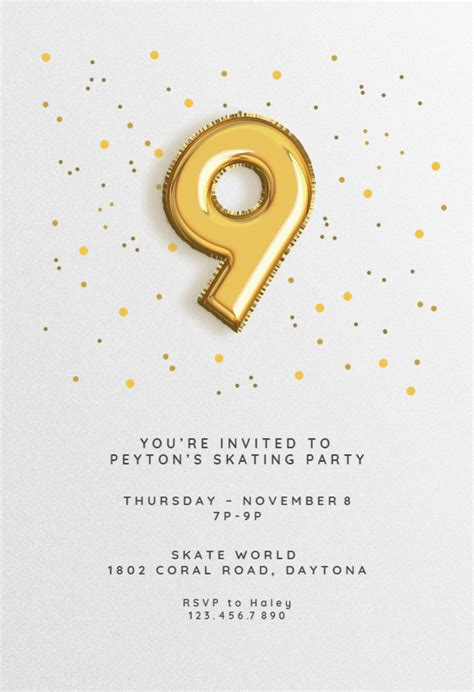 9th birthday Balloons Printable Birthday Invitation