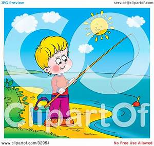 Clipart Illustration of a Boy Fishing On The Shore Of A ...