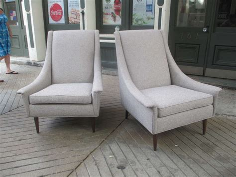selig pair of high back upholstered lounge chairs at 1stdibs