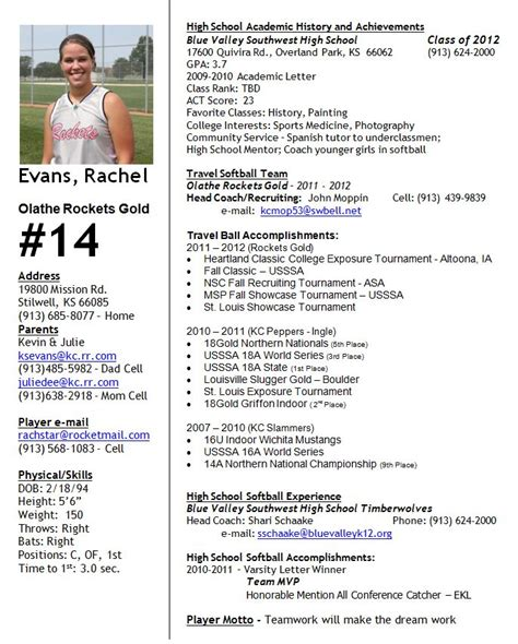 Soccer Player Profile Template by Softball Profile Softball Profile