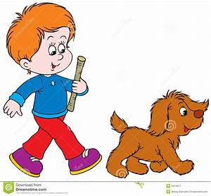 Boy clipart walking dog - Pencil and in color boy clipart ...