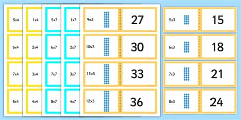 Array Multiplication Cards 3, 4 And 7 Times Tables