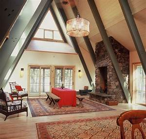 Interior of large a frame a frame house pinterest for A frame interior decorating ideas