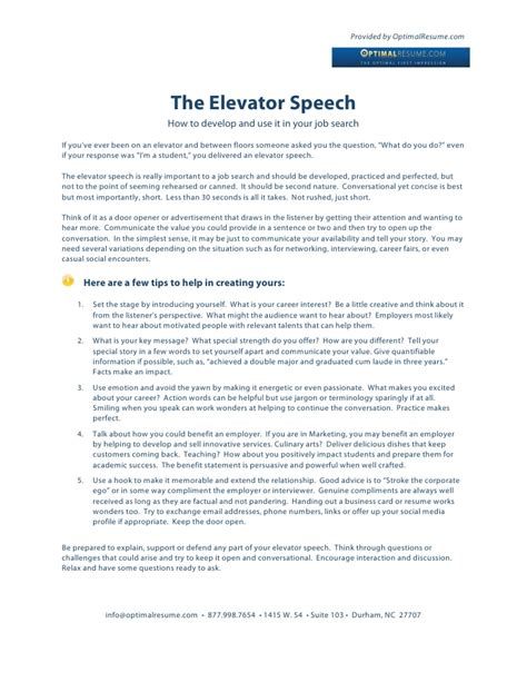 Elevator Pitch Resume by How To Write A Search Elevator Speech