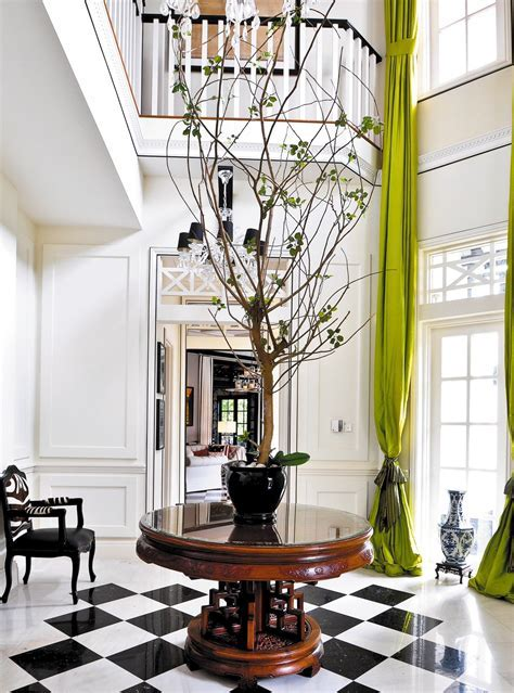 Foyer in Black, White and Chartreuse   Interiors By Color