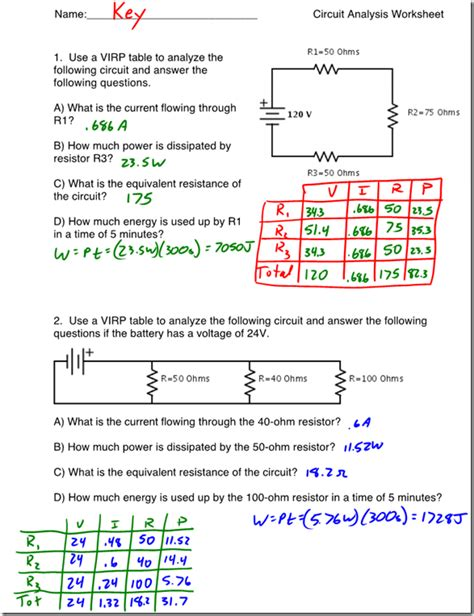 types of circuits and ohms worksheet answers