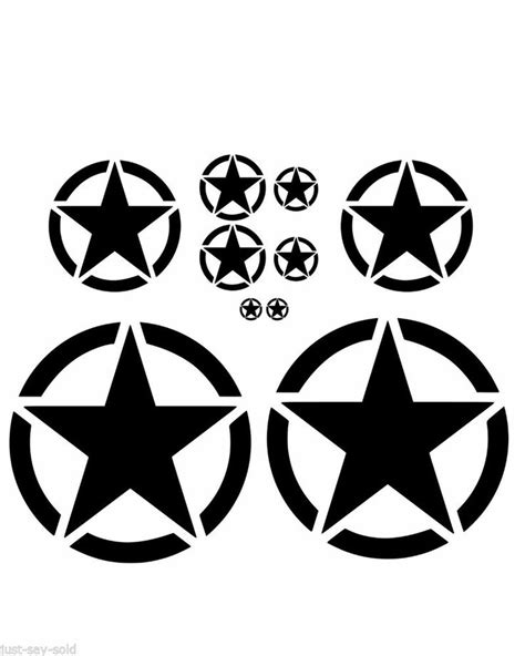 jeep vinyl decals details about invasion circle star set of 10 vinyl decal