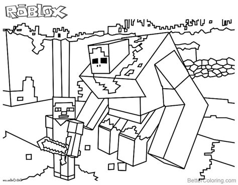 Kleurplaat Roblox by Minecraft Of Roblox Coloring Pages Black And White Free