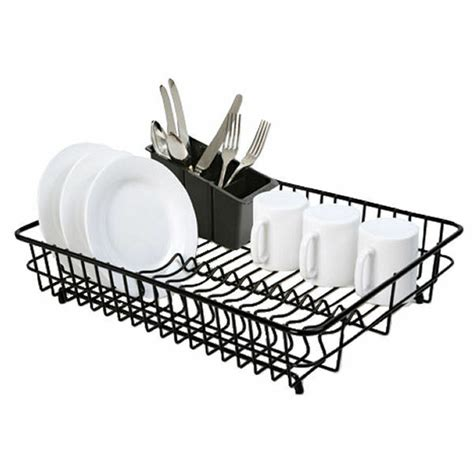 Kitchen Drainer Basket by Delfinware Large Plastic Coated Black Dish Drainer
