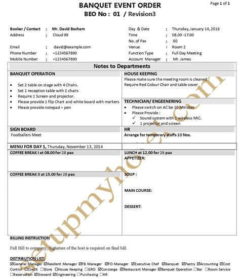 banquet event order template banquet function plan event order form fp beo sle