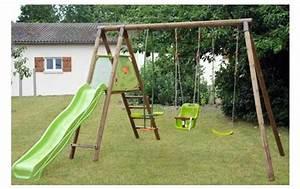 Balancoire Bois Toboggan : portique et toboggan ~ Premium-room.com Idées de Décoration