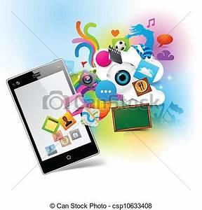 Vector Clip Art de colorido, tecnología, -, Smartphone ...
