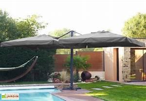 Grand Parasol Déporté : parasol double d port en aluminium et polyester gris dcb garden ~ Teatrodelosmanantiales.com Idées de Décoration
