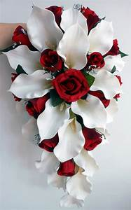 Wedding Bouquet - Ivory Calla Lillies, Deep Red Roses | eBay