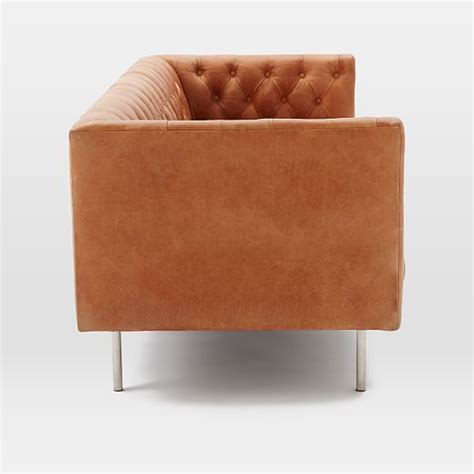 modern leather chesterfield sofa modern chesterfield leather sofa west elm