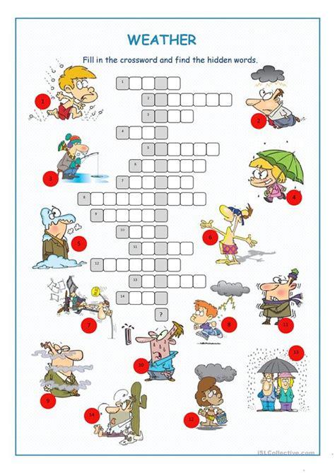 weather crossword puzzle english esl worksheets