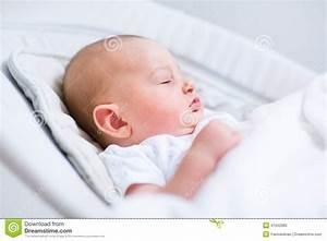 Portrait Of Newborn Baby Sleeping In Bouncer Chair Stock ...  Baby
