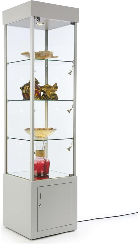 used lockable glass display cabinets locking retail display tower silver finish with led lighting