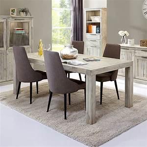 Table Salle A Manger Blanche Et Bois : table a manger en bois blanc ronde blanchi ceruse ~ Teatrodelosmanantiales.com Idées de Décoration