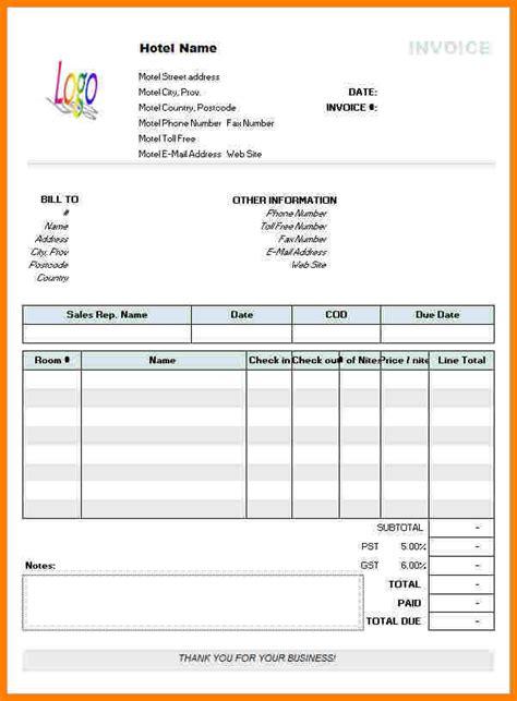 5 hotel bill format in word sle travel bill