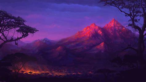 artwork, Fantasy Art, Mountain, Colorful, Monkeys, Night ...