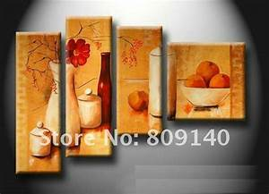 Free shipping kitchen dining room oil painting canvas for Kitchen colors with white cabinets with canvas wall art set