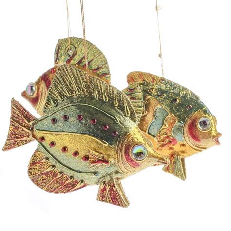 bejeweled artisan fish ornaments christmas and winter