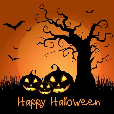 Spooky Halloween Background With Tree And Pumpkins Vector