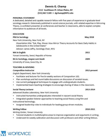 sample graduate cv  academic  research positions