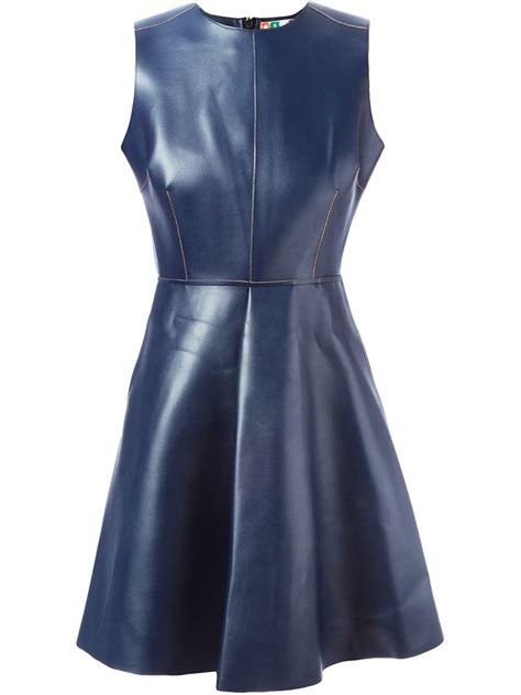 lyst msgm artificial leather flared dress  blue